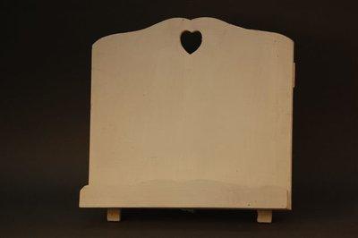 Kookboekstandaard wit hout met hart